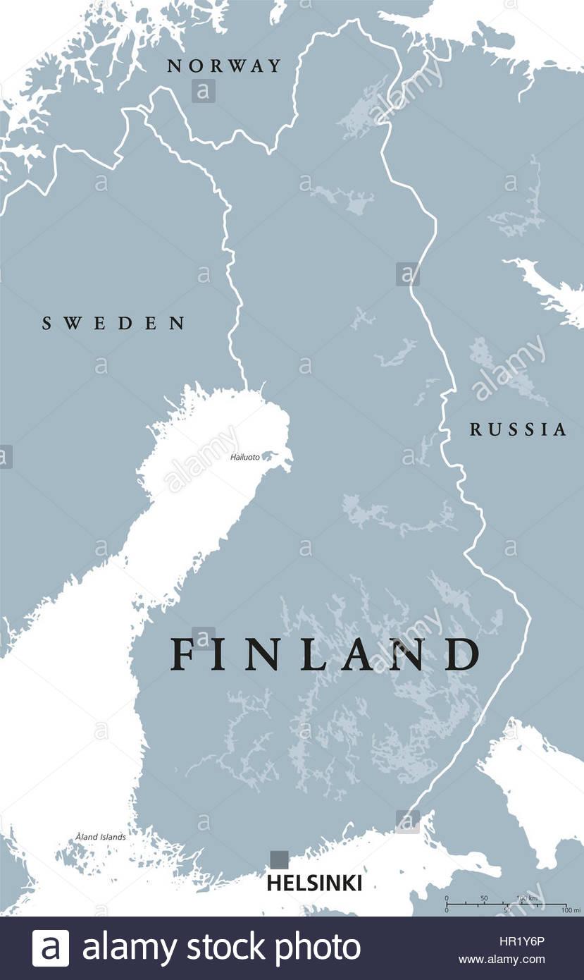 Carte Politique De La Finlande, Helsinki Capital Avec Les à Carte Europe Pays Et Capitale