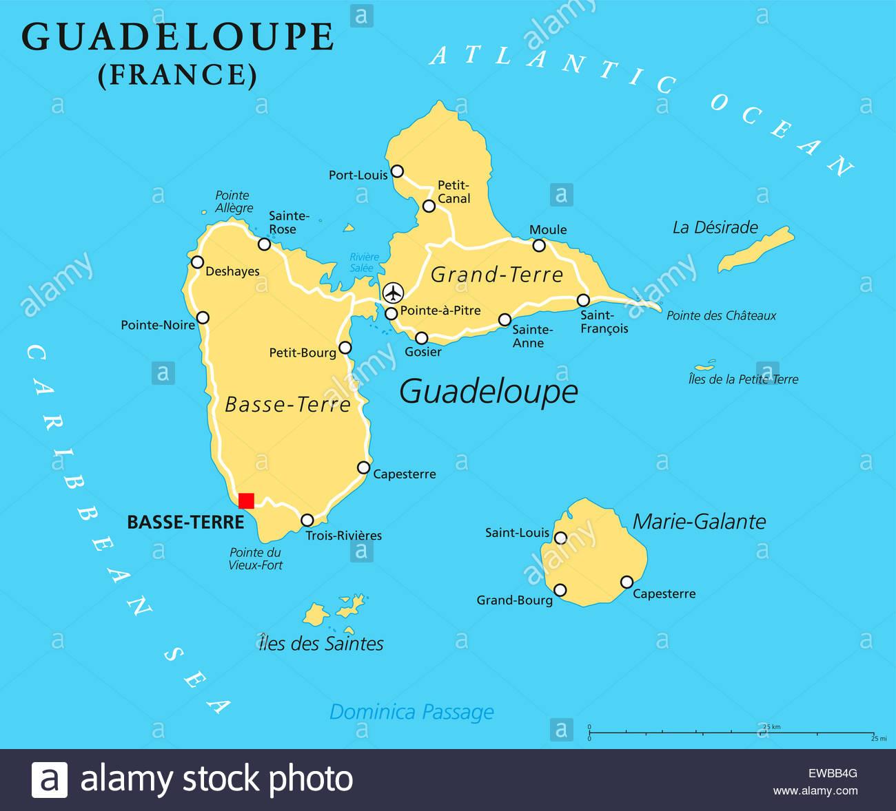 Carte Politique De La Guadeloupe Basse-Terre, Capitale De pour Carte France D Outre Mer