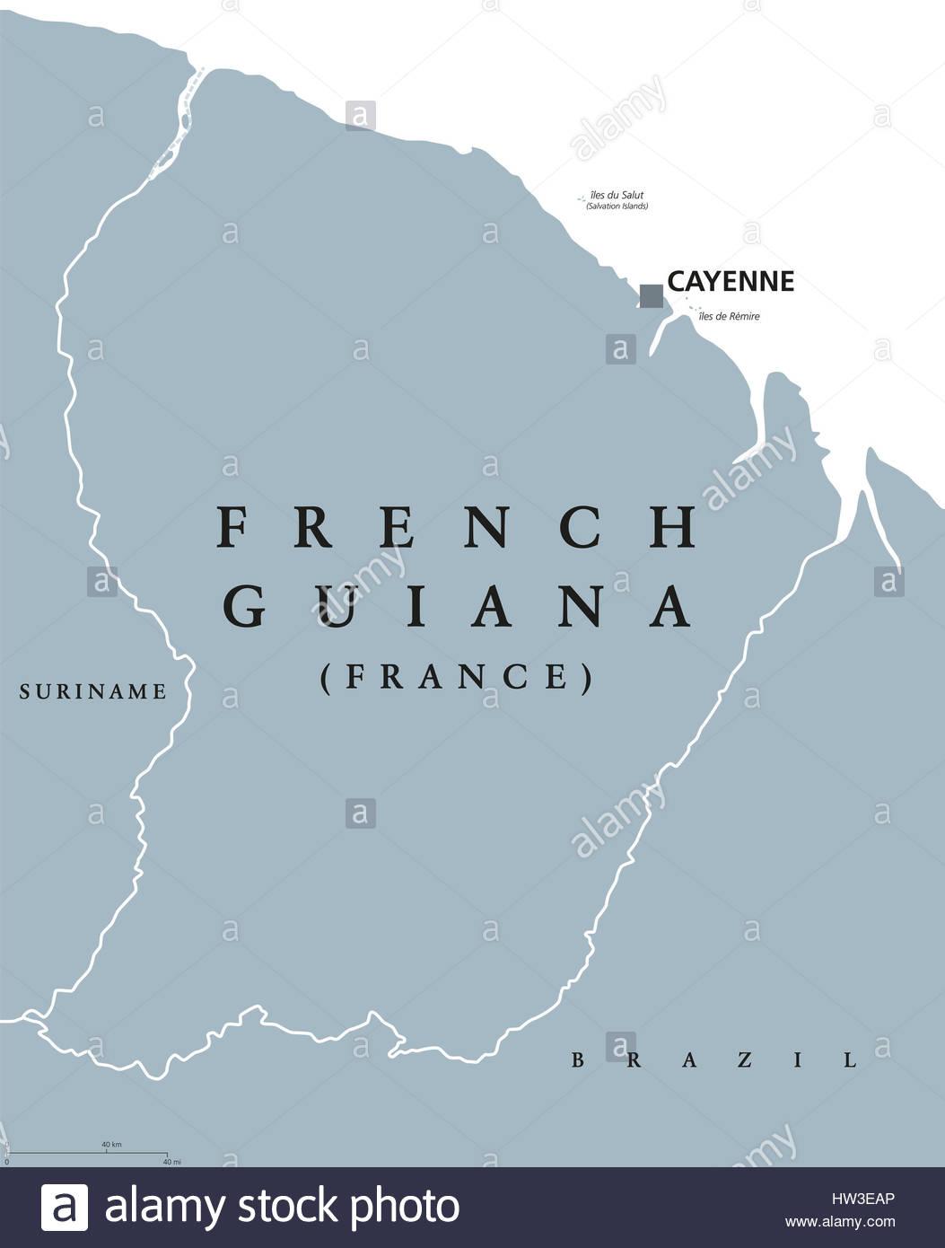 Carte Politique De La Guyane Française Au Capital De Cayenne destiné Département D Outre Mer Carte
