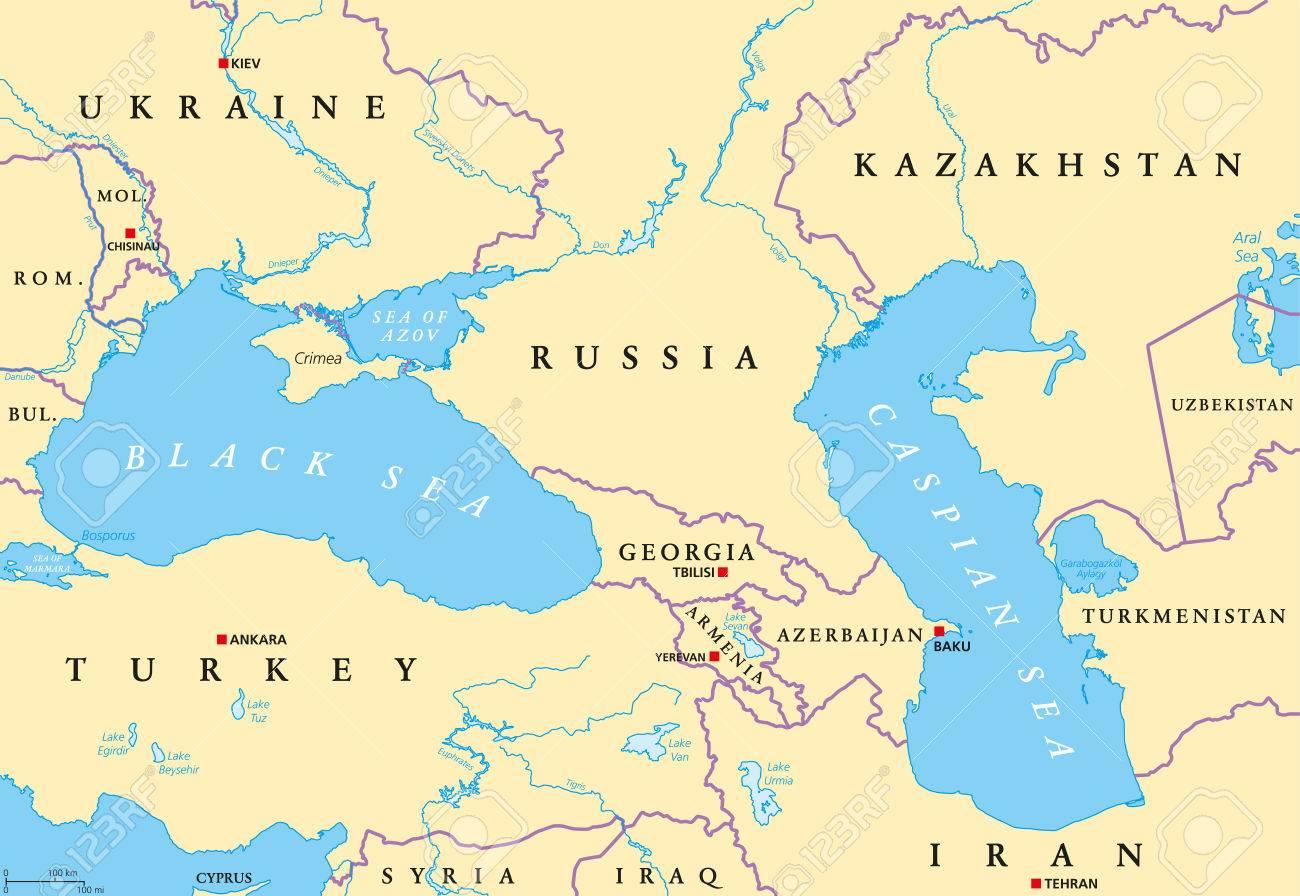 Carte Politique De La Mer Noire Et De La Mer Caspienne Avec Les Capitales,  Les Frontières Internationales, Les Rivières Et Les Lacs. Les Plans D'eau pour Carte Europe Avec Capitales