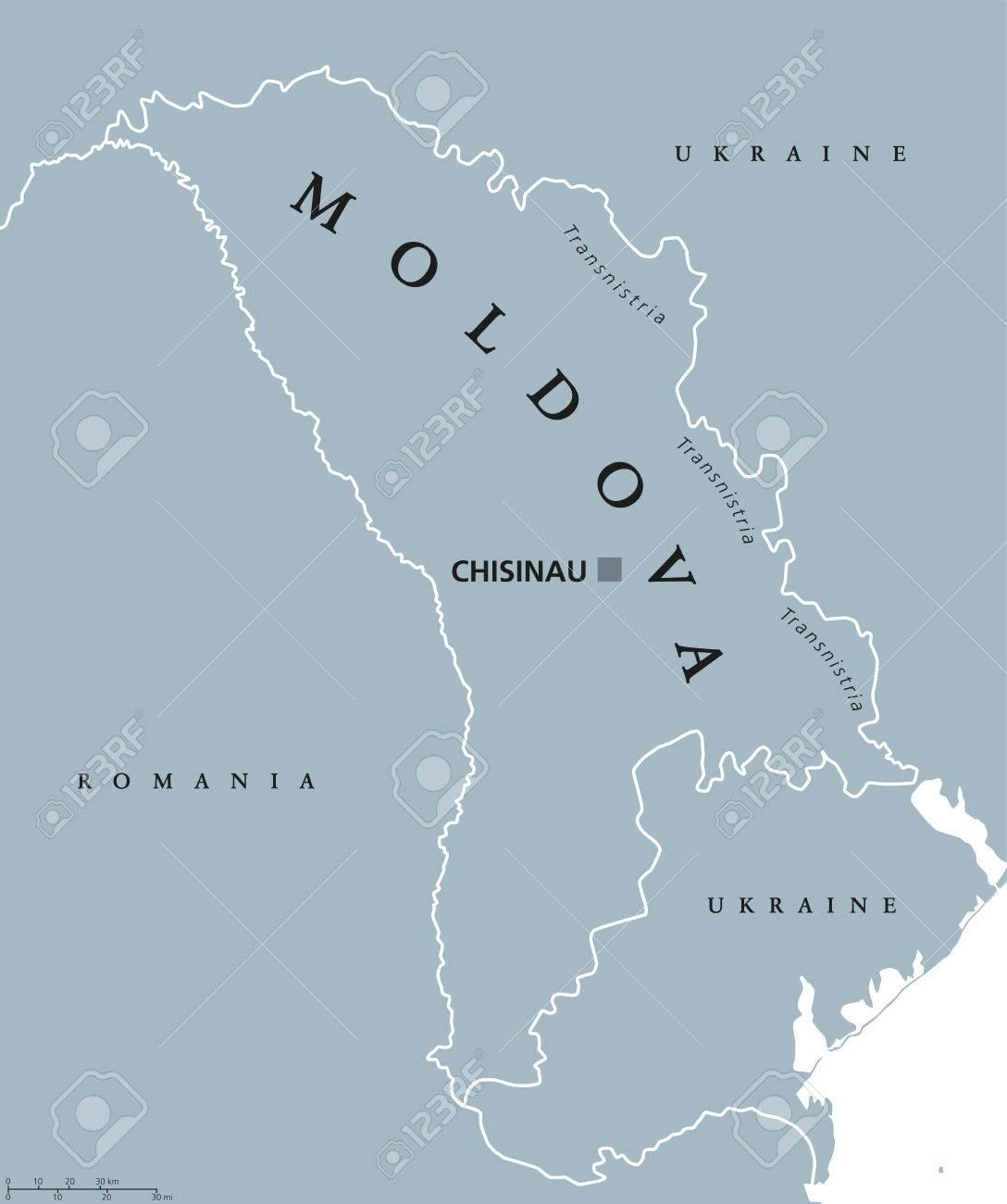 Carte Politique De La Moldavie Avec La Capitale Chisinau, La Transnistrie,  Les Frontières Nationales Et Les Voisins. Aussi Moldavie, République à Carte Europe Avec Capitale
