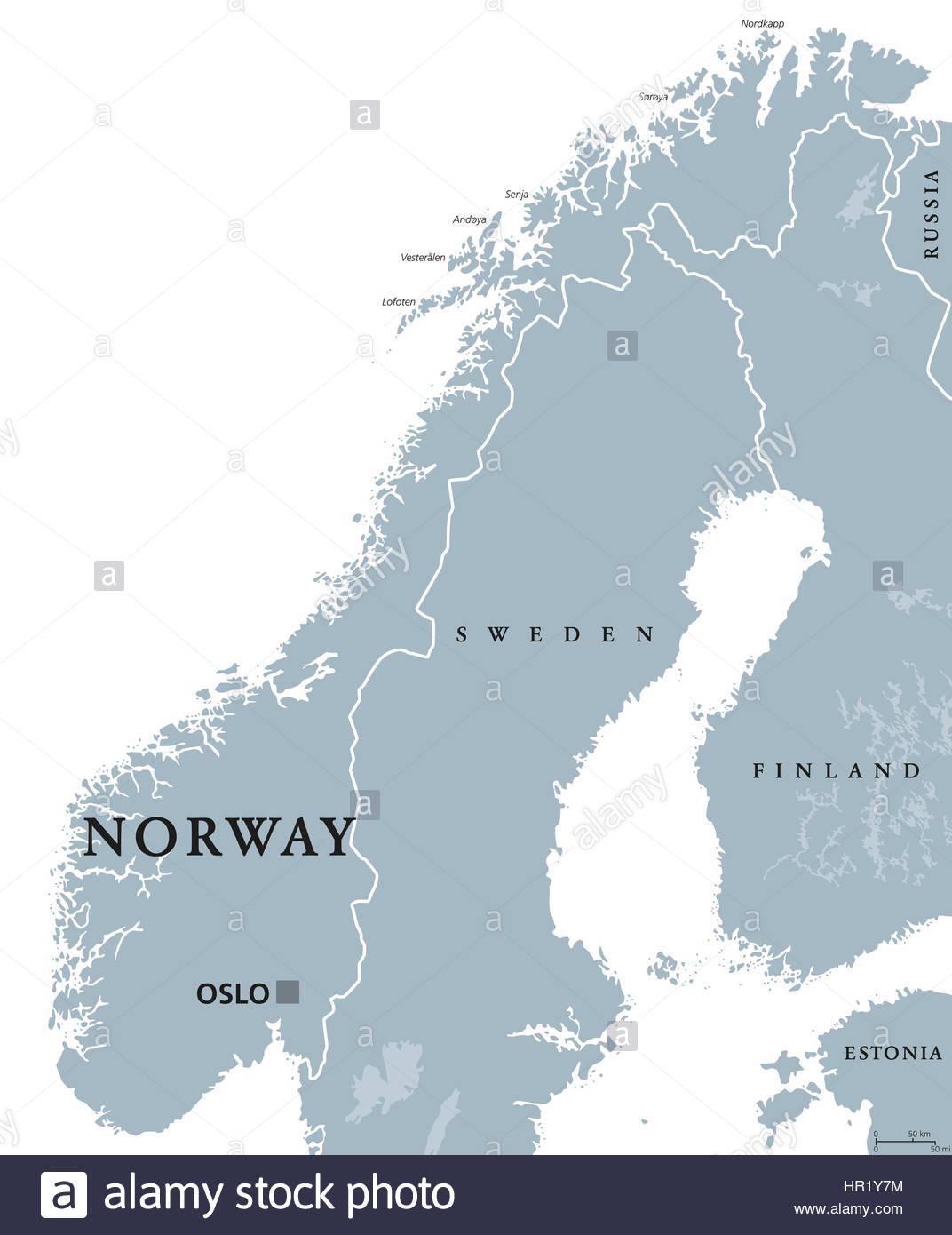 Carte Politique De La Norvège Avec Oslo, Capitale Des concernant Carte De L Europe Avec Capitale