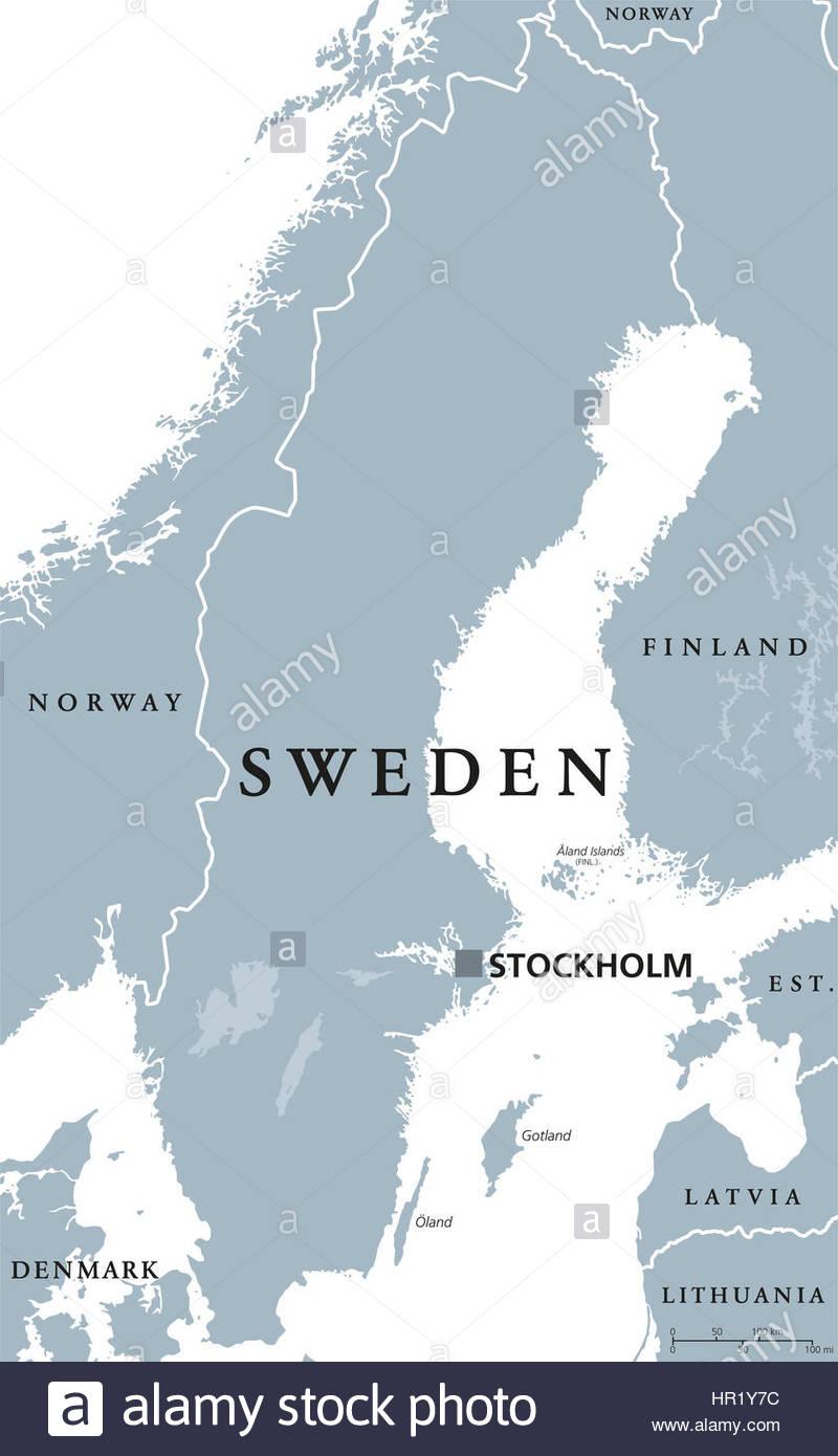 Carte Politique De La Suède À Stockholm, Capitale Des pour Carte Europe Pays Capitales