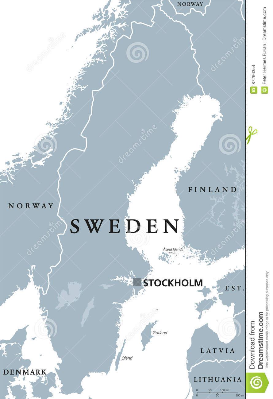 Carte Politique De La Suède Illustration De Vecteur pour Carte Europe Capitale