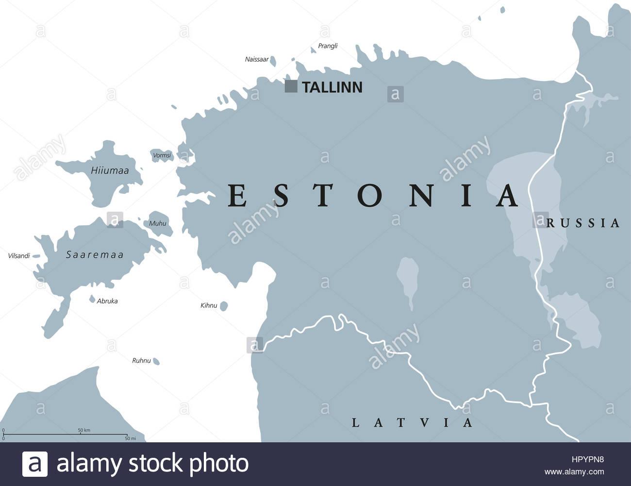 Carte Politique De L'estonie Avec Capitale De L'estonie, Les dedans Pays Et Capitales D Europe