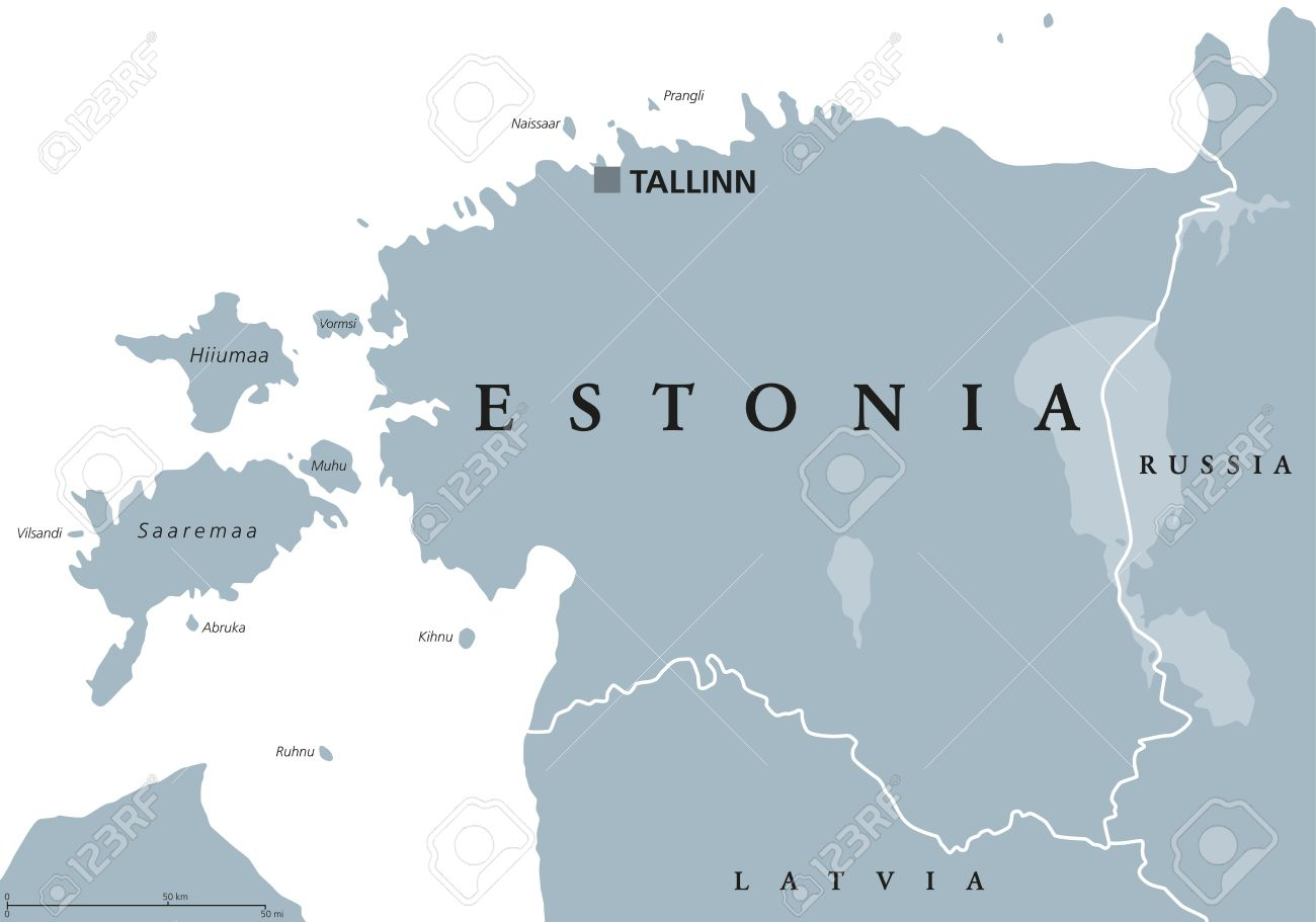Carte Politique De L'estonie Avec La Capitale Tallinn, Les Frontières  Nationales Et Les Pays Voisins. République D'europe Du Nord, L'un Des Trois  Pays à Carte Capitale Europe