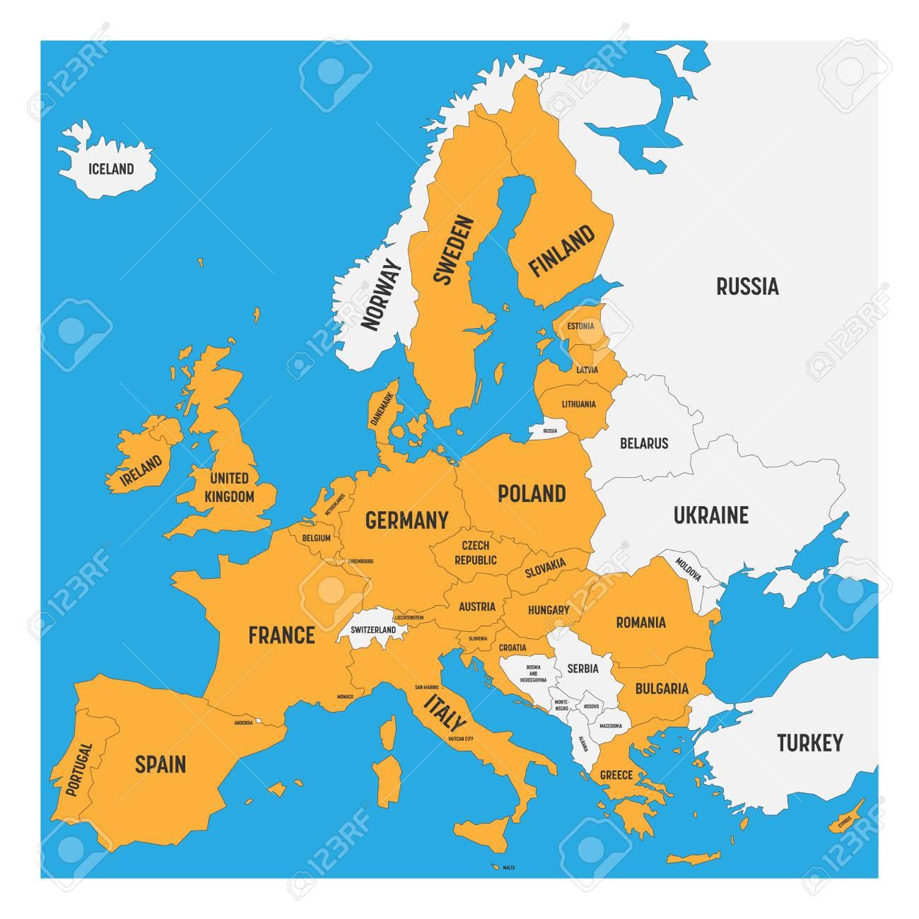 Carte Politique De L'europe Avec La Terre Blanche Et Le Jaune En  Surbrillance 28 Union Européenne, Ue, États Membres. Illustration  Vectorielle Plane tout Carte Union Européenne 28 Pays
