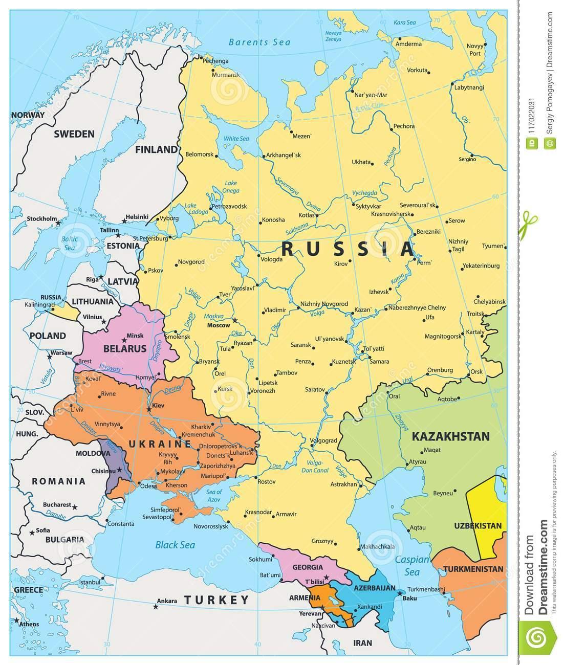 Carte Politique De L'europe De L'est Illustration De Vecteur à Carte Europe De L Est