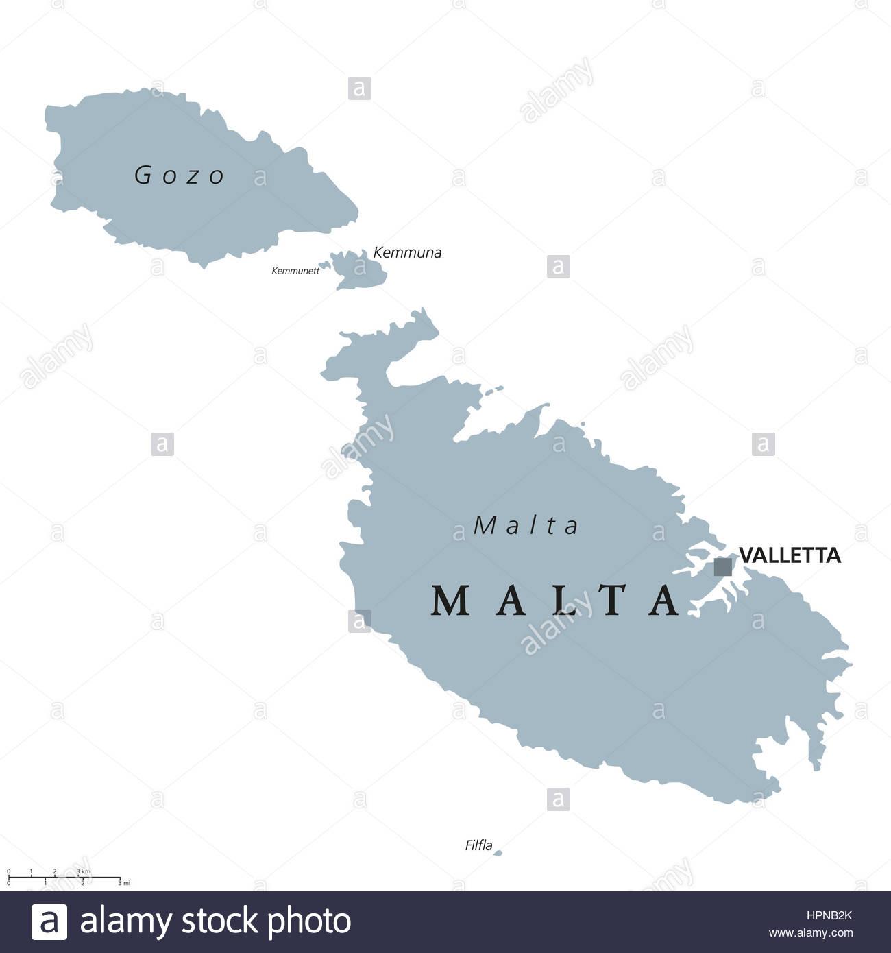 Carte Politique De Malte Avec Capitale De La Valette pour Carte Europe Pays Et Capitale