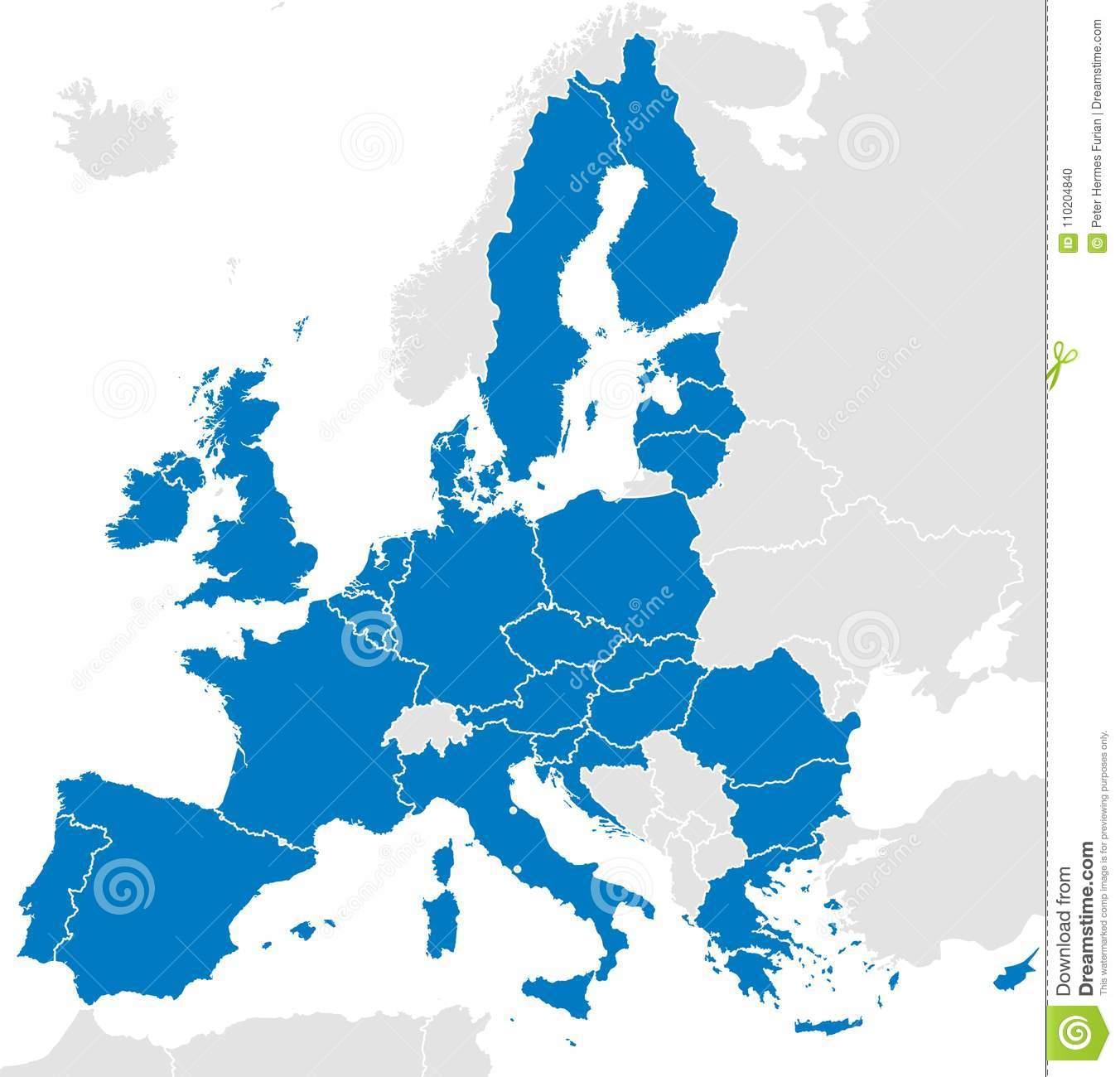 Carte Politique De Pays De L'union Européenne Illustration à Carte Des Pays Membres De L Ue