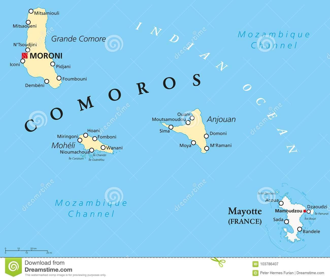 Carte Politique Des Comores Et De Mayotte Illustration De serapportantà Département D Outre Mer Carte