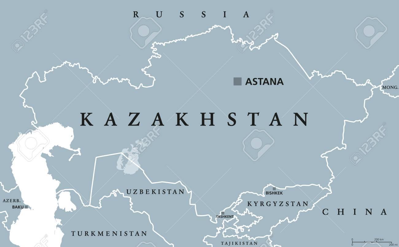 Carte Politique Du Kazakhstan Avec La Capitale Astana. République. Pays  Transcontinental Du Nord De L'asie Centrale Et De L'europe De L'est. avec Carte Europe Pays Et Capitale