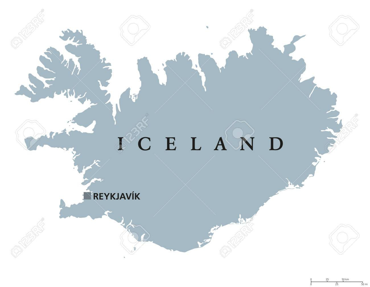 Carte Politique Islande Capitale Reykjavik. République Et Pays Insulaire  Nordique En Europe Et L'océan Atlantique Nord. Illustration Gris Avec destiné Capitale Europe Carte