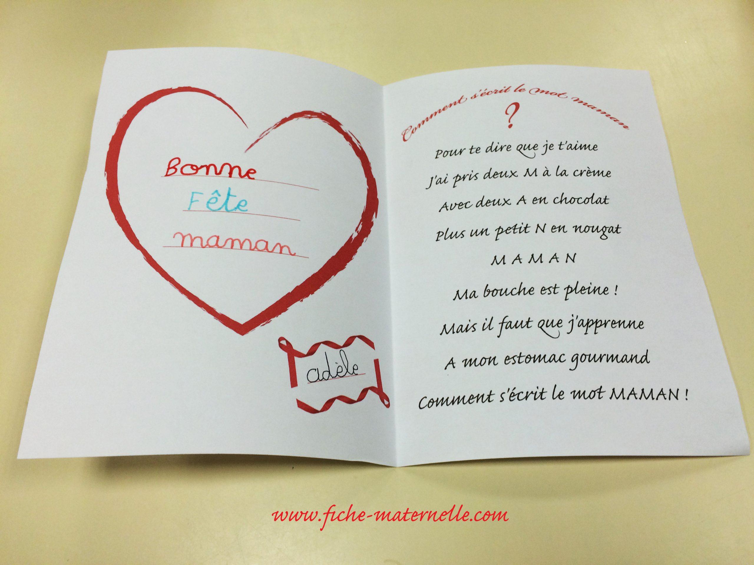 Carte Pour La Fête Des Mères En Maternelle intérieur Carte Bonne Fete Maman Imprimer