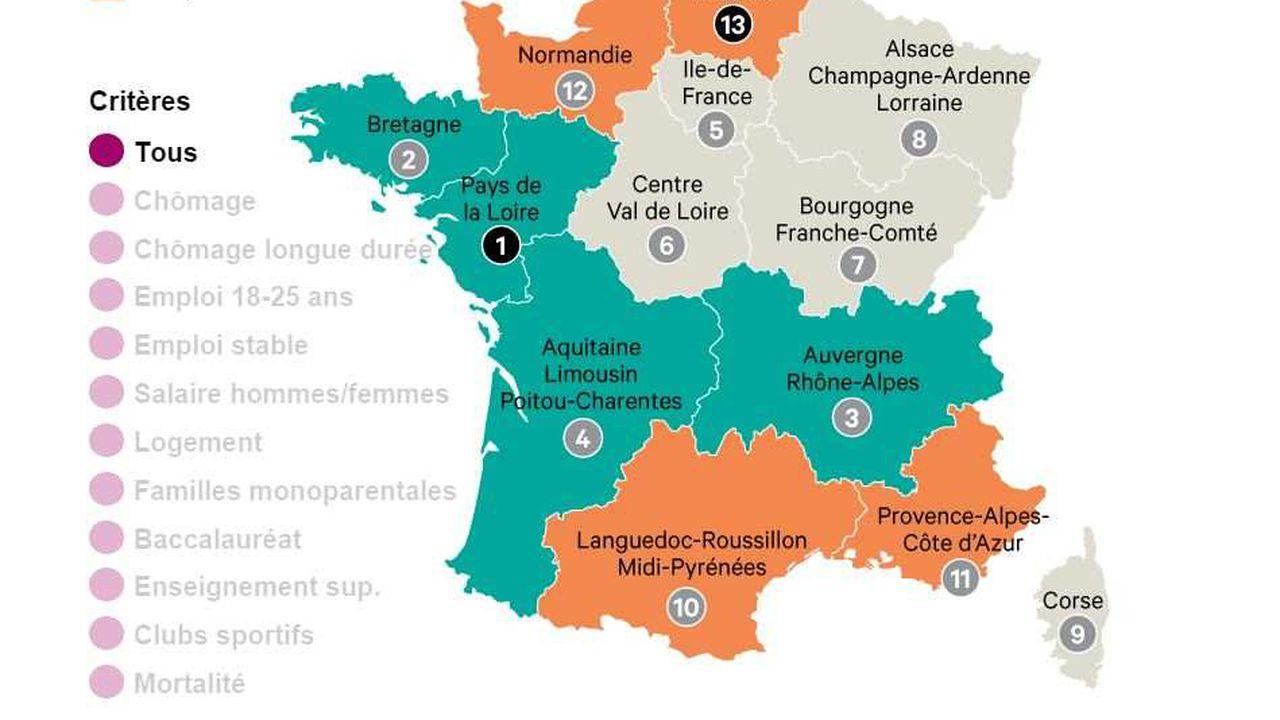 Carte : Quelles Sont Les Régions Où Il Fait Bon Vivre destiné Carte Des Régions Françaises