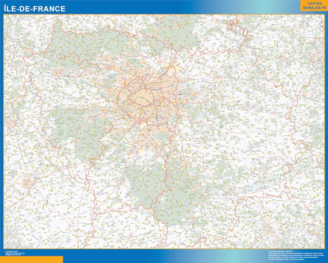 Carte Region Ile De France | Cartes Murales France avec Carte De France Grand Format