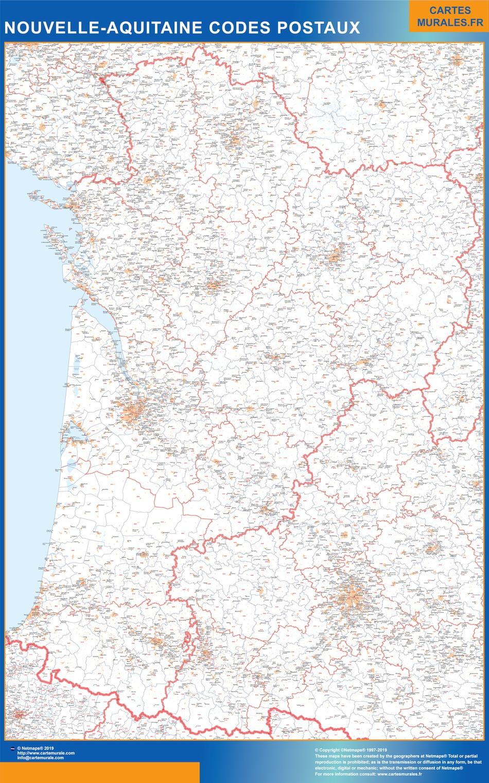 Carte Région Plastifiée Nouvelle Aquitaine Codes Postaux Magnétique à Carte Nouvelle Région France