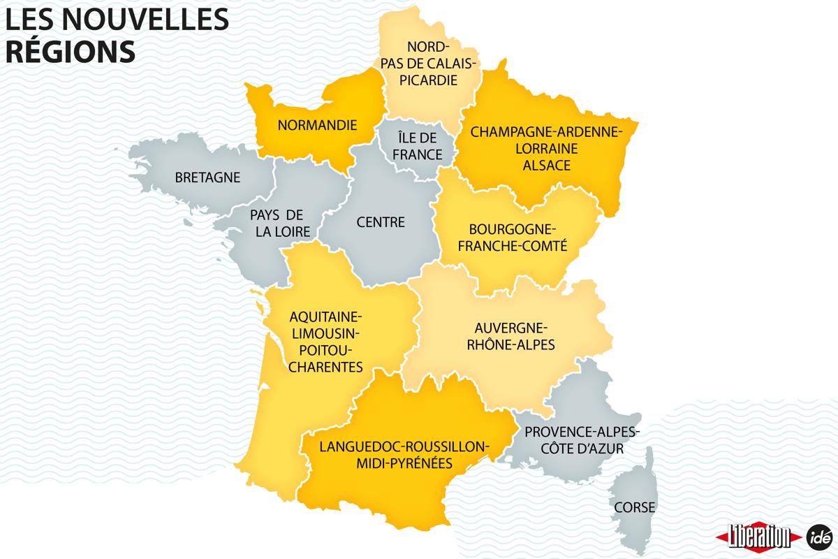 Carte Régions De France 2016 À Compléter intérieur Carte De France Vierge Nouvelles Régions