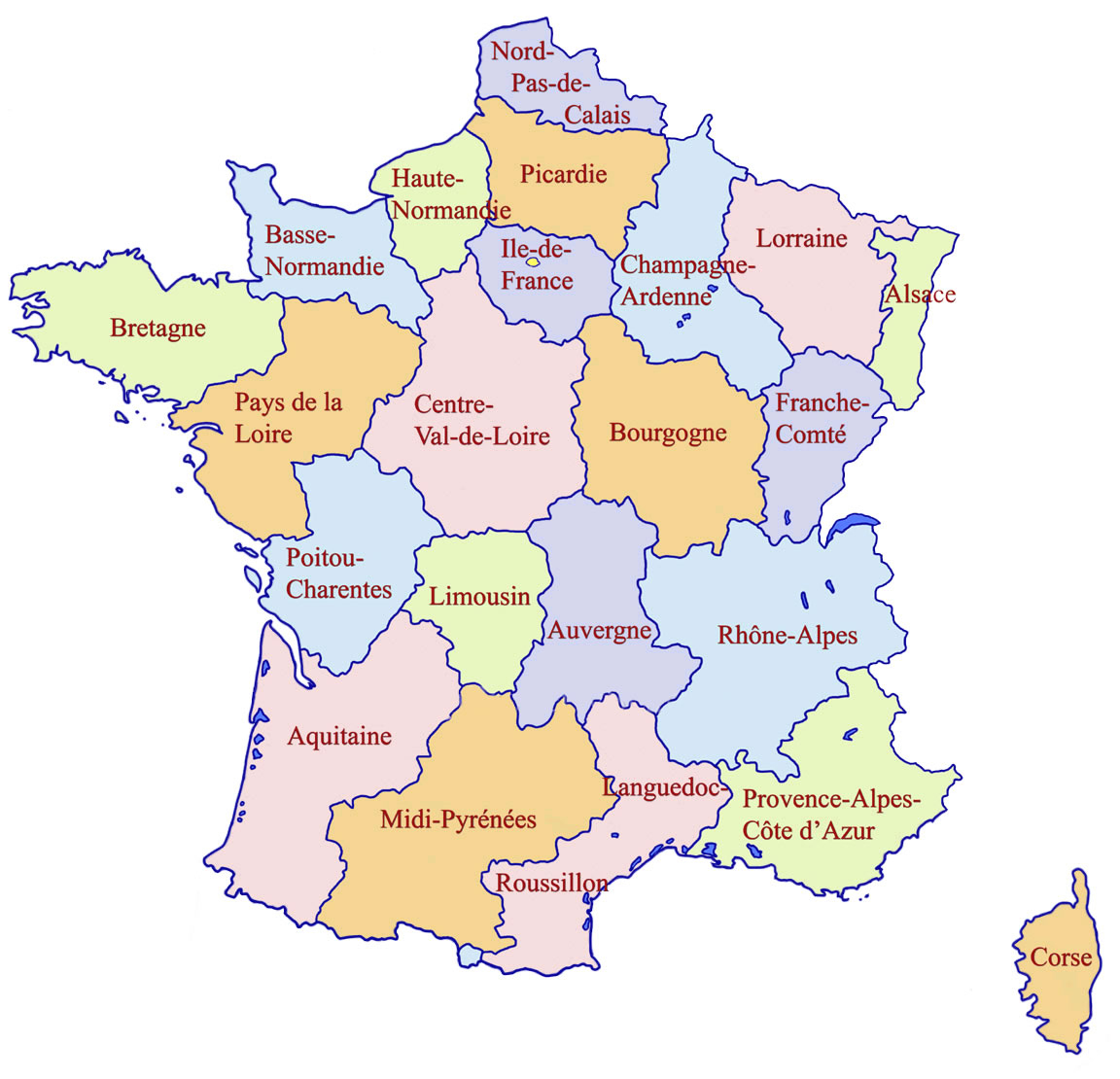Carte Régions De France Couleur, Carte Des Régions De France à Carte Des Régions Françaises