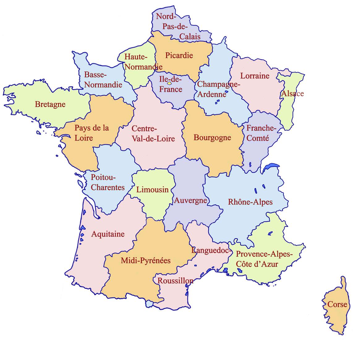 Carte Régions De France Couleur, Carte Des Régions De France concernant Plan De La France Par Departement