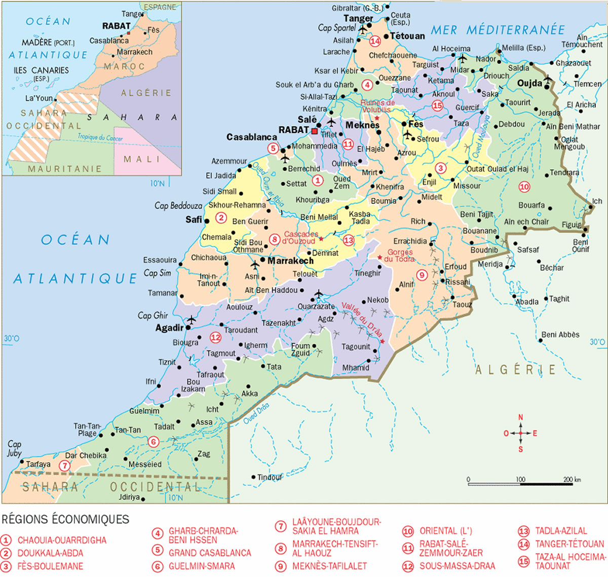 Carte Régions Économiques Maroc, Carte Détaillée Des Régions avec Carte De L Europe Détaillée