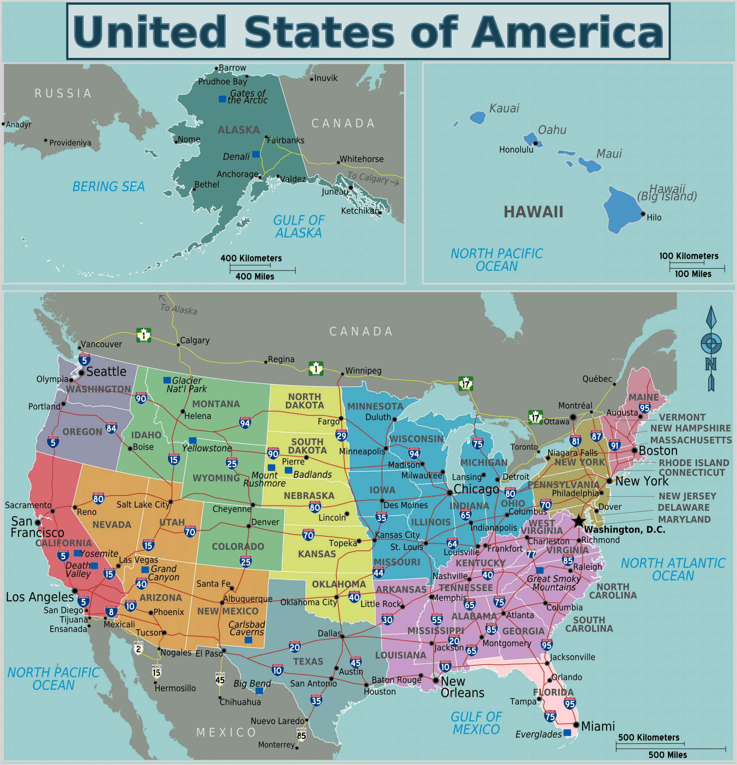 Carte Régions États-Unis Couleur, Carte Des Régions Des serapportantà Carte Des Etats Unis À Imprimer