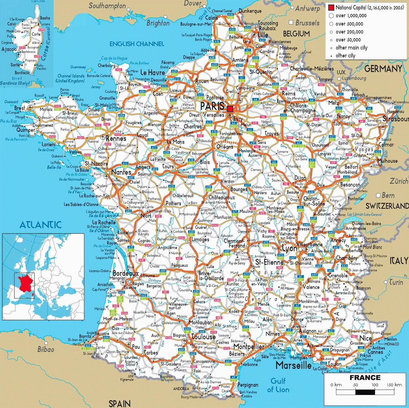 Carte Reseau Routier dedans Carte De France Avec Les Départements