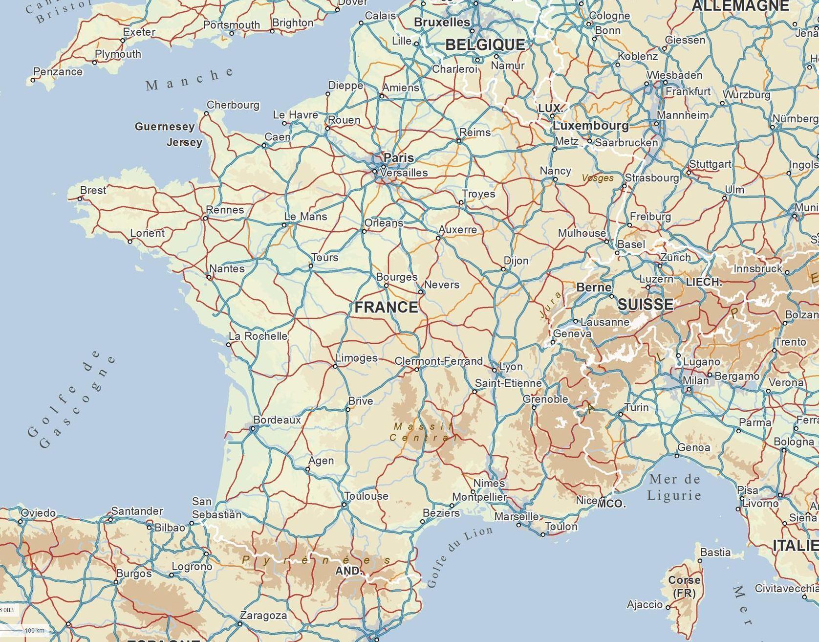 Carte Routiere : Carte Des Routes De France, Calcul D dedans Carte De France Imprimable Gratuite