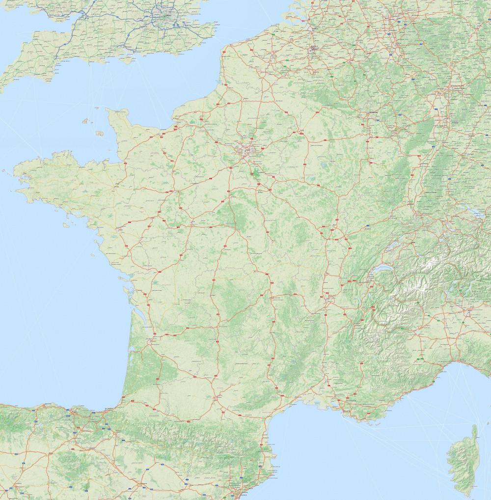 Carte Routière En Haute Résolution concernant Carte De France Grand Format