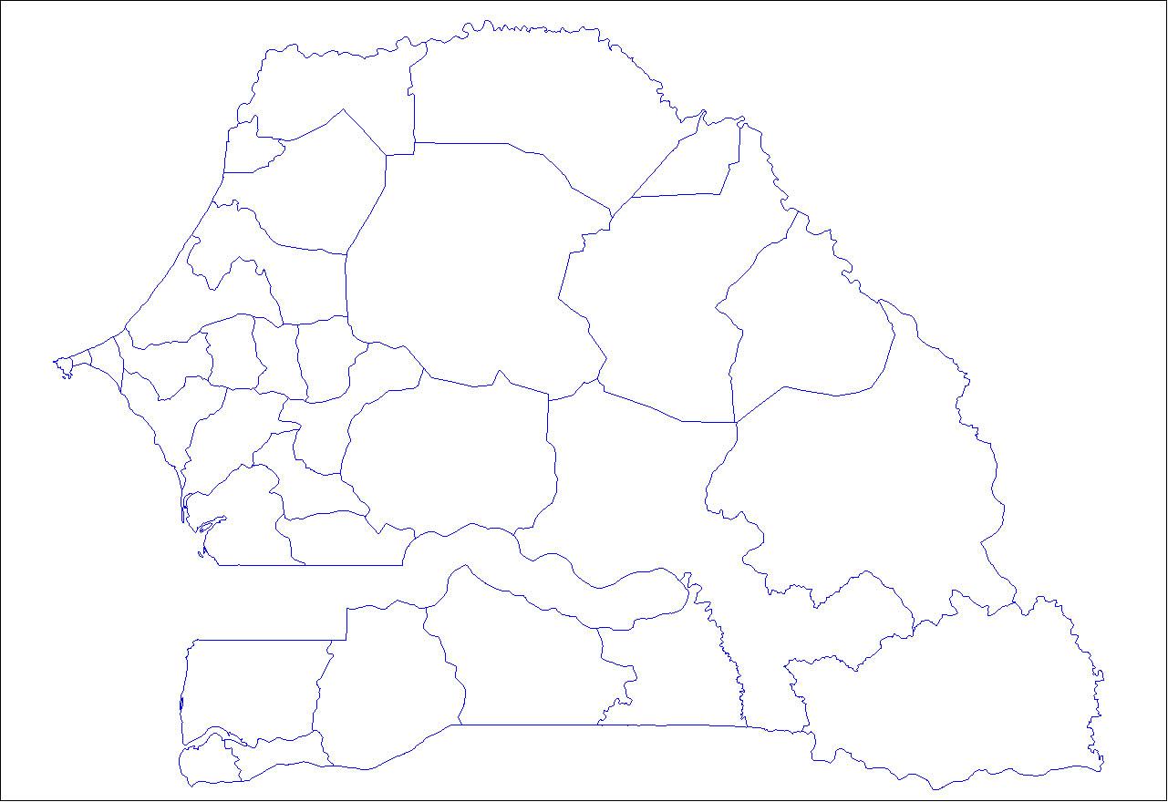 Carte Sénégal Vierge Départements, Carte Vierge Des concernant Carte Département Vierge