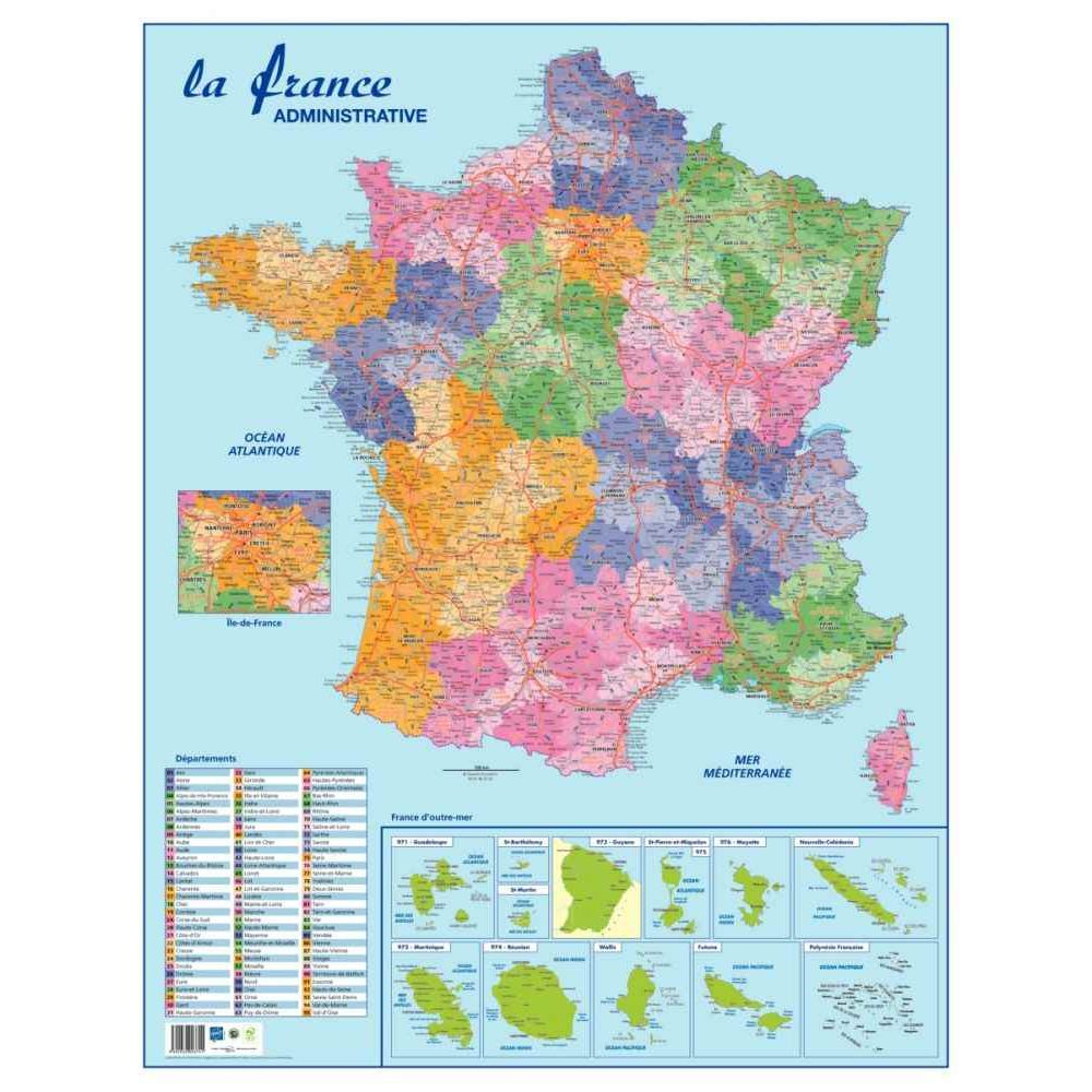 Carte Souple Murale France Departement encequiconcerne Carte De France Des Départements
