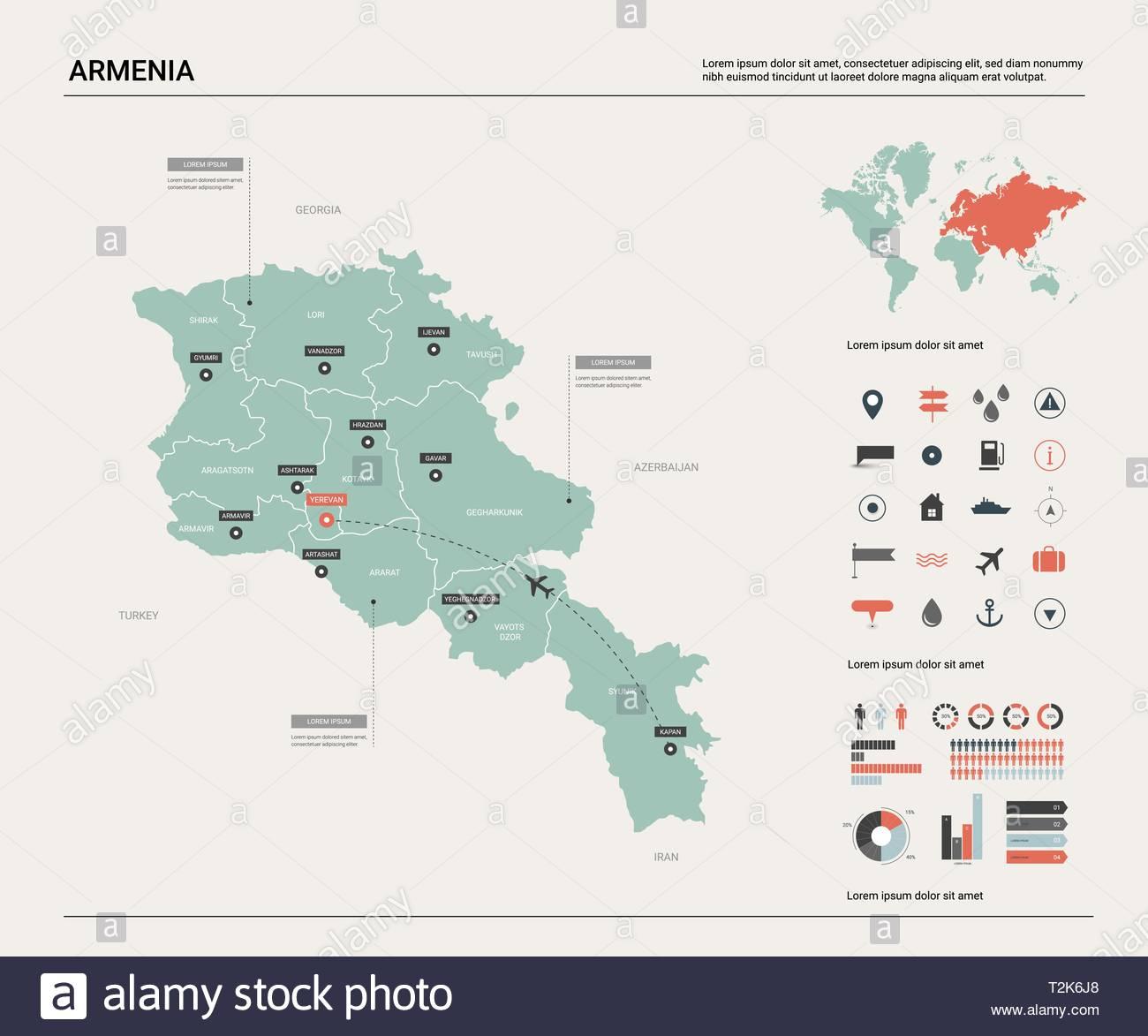 Carte Vectorielle De L'arménie. Carte Pays Très Détaillés à Carte D Europe Avec Pays Et Capitales