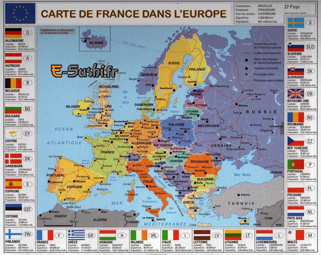 Carte Villes Europe - Slubne-Suknie concernant Carte De L Europe Avec Pays