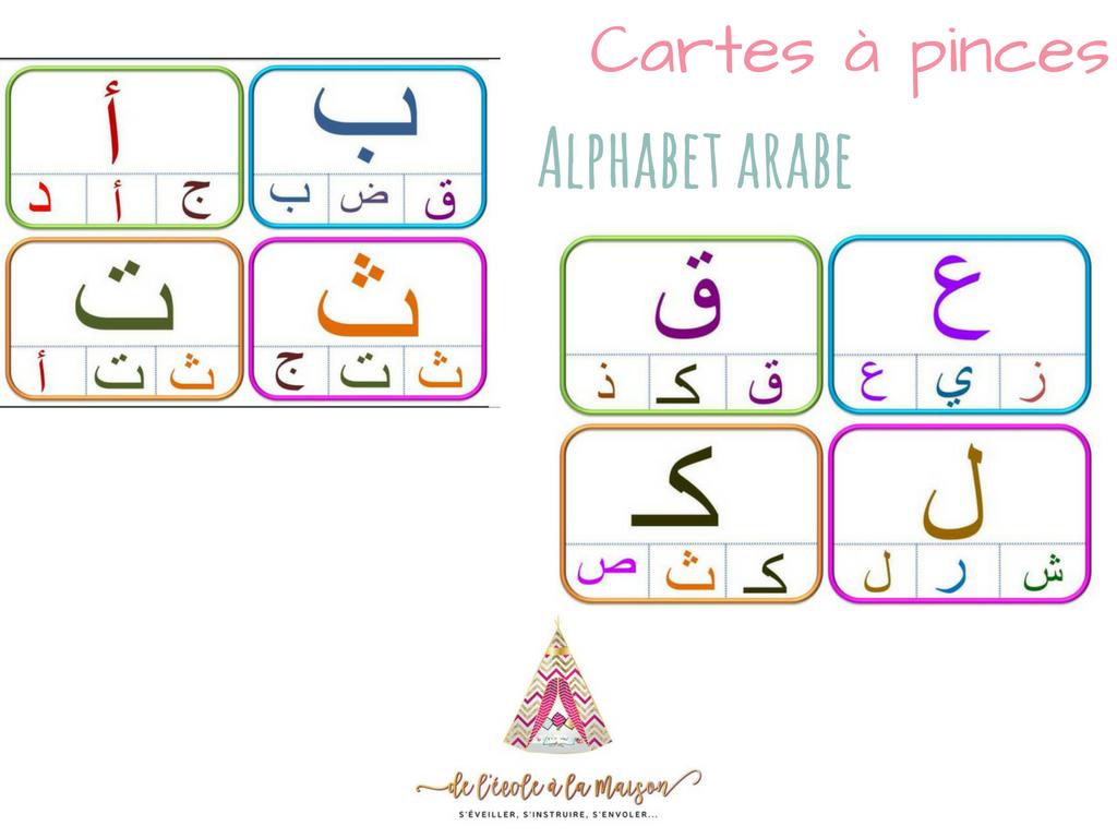 Cartes À Pinces - Alphabet Arabe - | Alphabet Arabe dedans J Apprend L Alphabet Maternelle