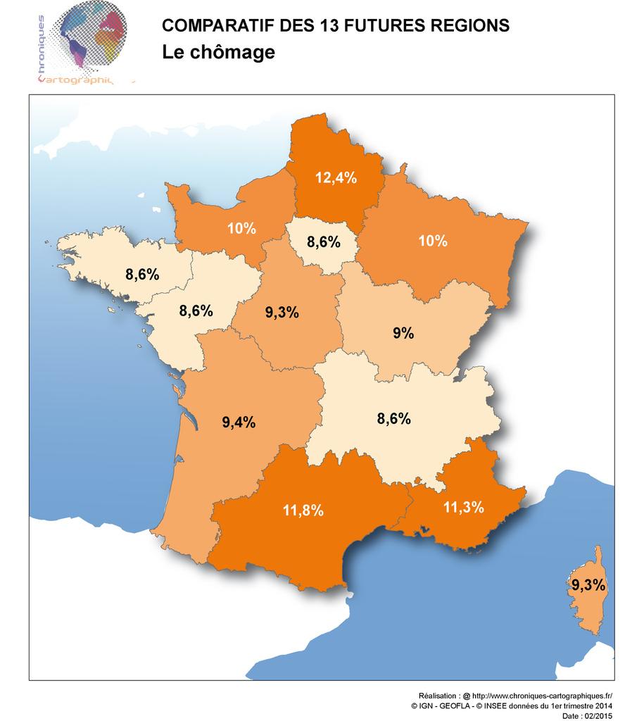 Cartes Comparatives Des Nouvelles Régions En France dedans Carte Des 13 Nouvelles Régions De France