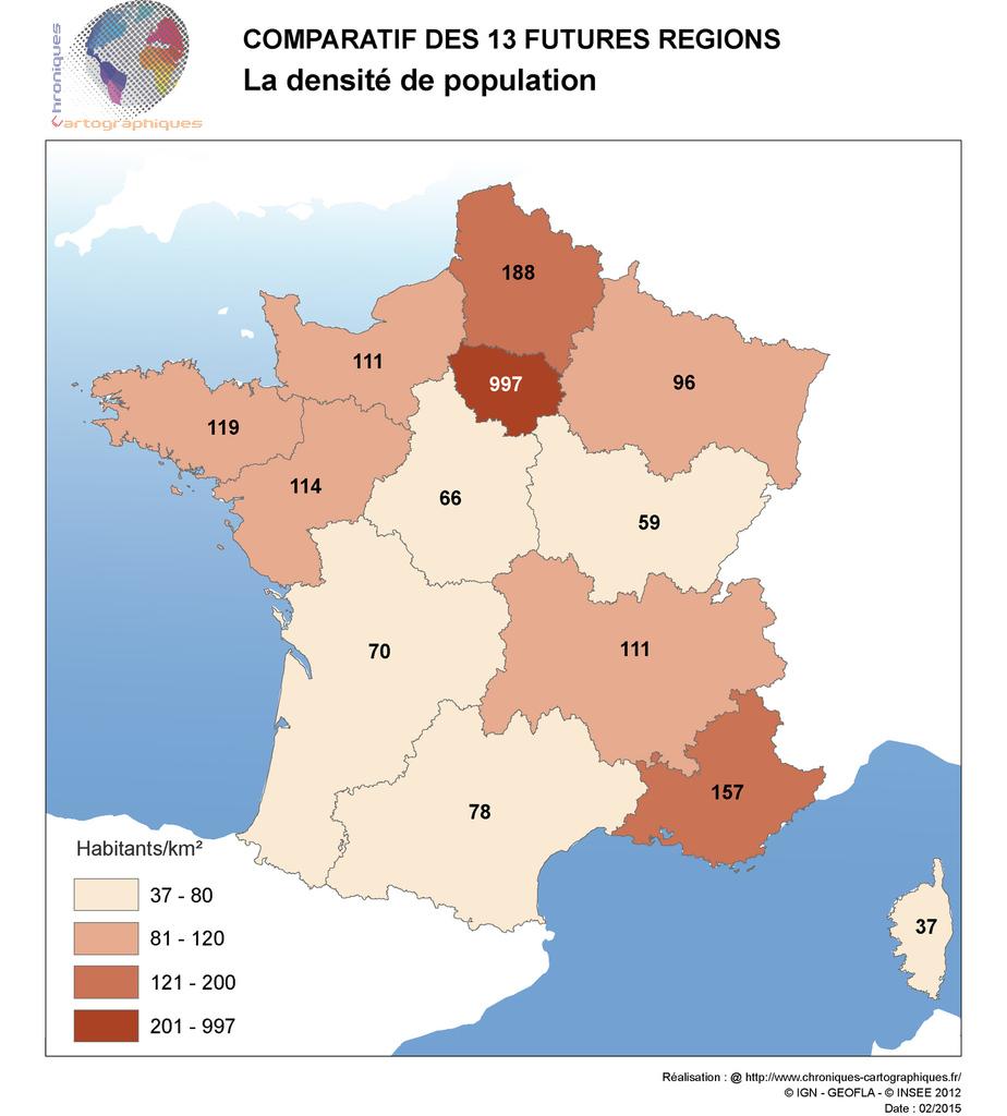 Cartes Comparatives Des Nouvelles Régions En France dedans Carte Des 13 Régions