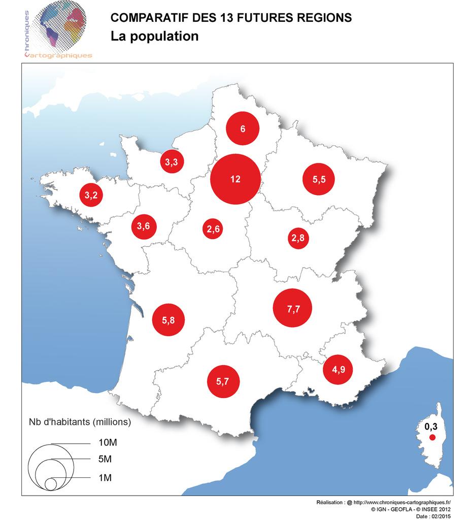 Cartes Comparatives Des Nouvelles Régions En France pour Carte Des 13 Nouvelles Régions De France