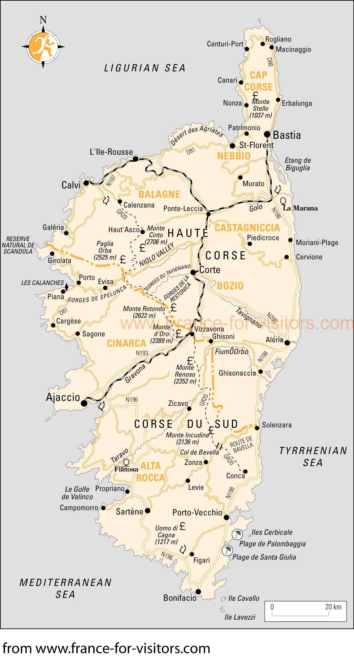 Cartes De Corse | Cartes Typographiques Détaillées De Corse pour Grande Carte De France À Imprimer