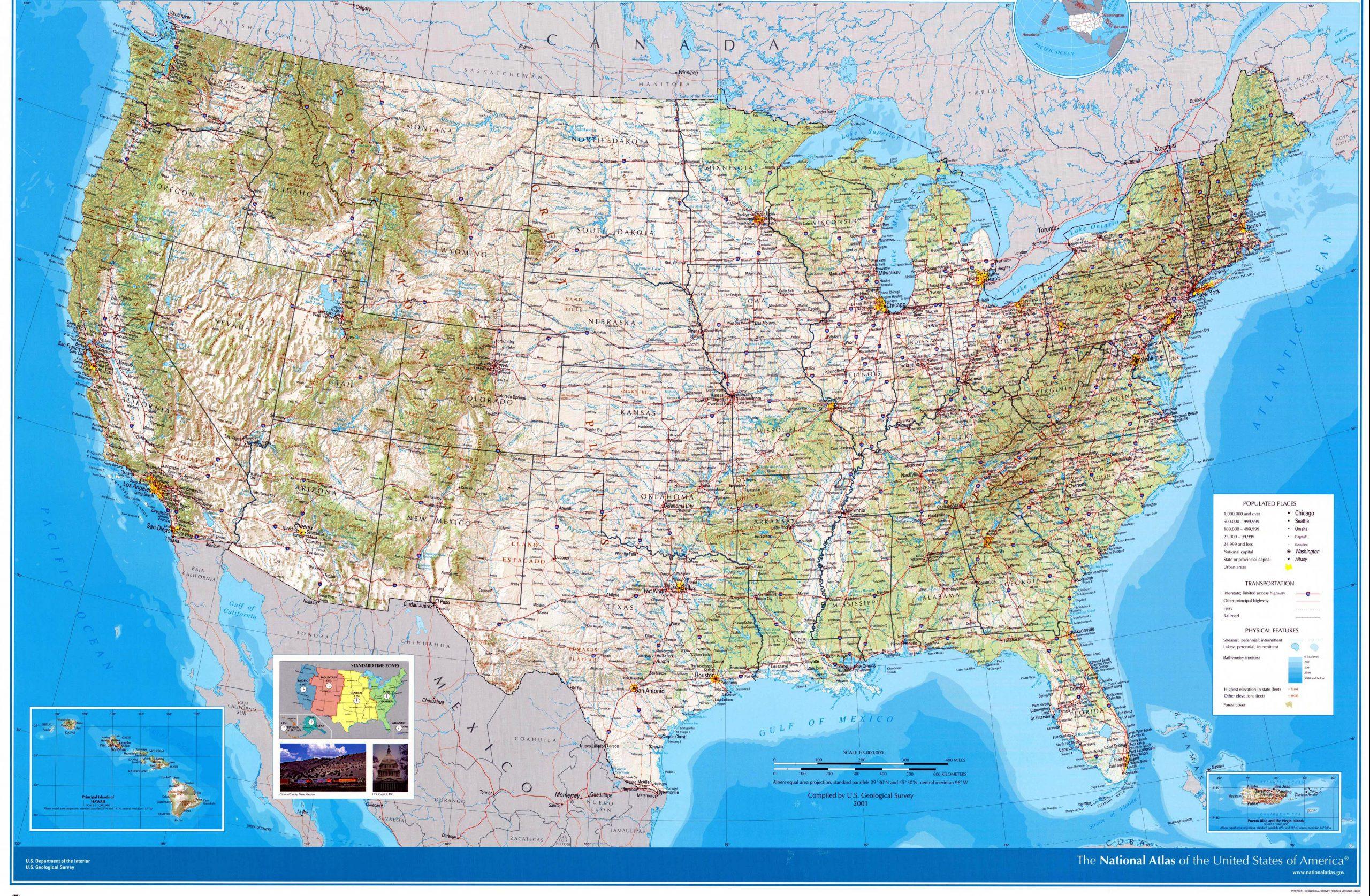 Cartes De Etats-Unis | Cartes Typographiques Détaillées Des avec Carte Des Etats Unis À Imprimer