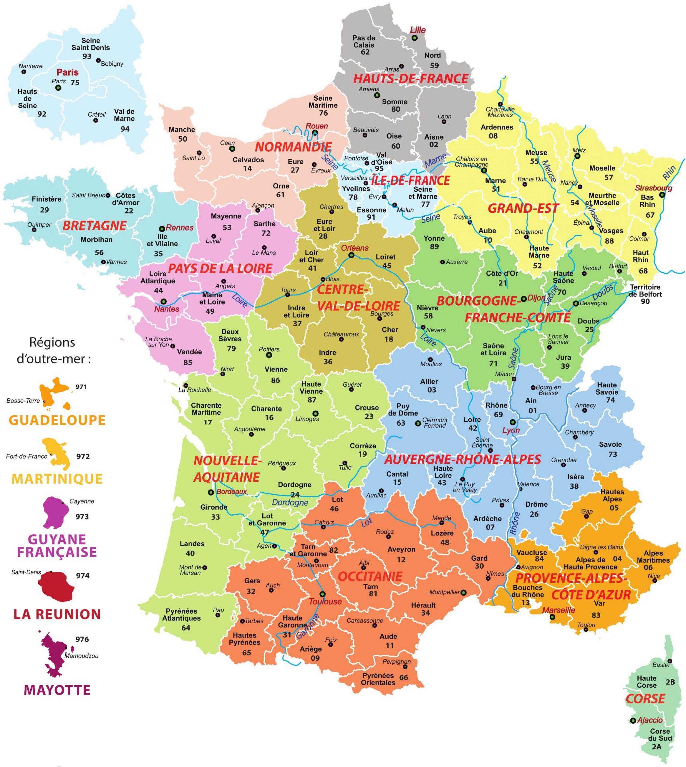 Cartes De France : Cartes Des Régions, Départements Et à Carte Departement Numero