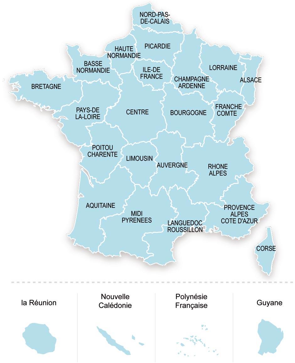 Cartes De France : Cartes Des Régions, Départements Et à Carte Des Régions À Compléter