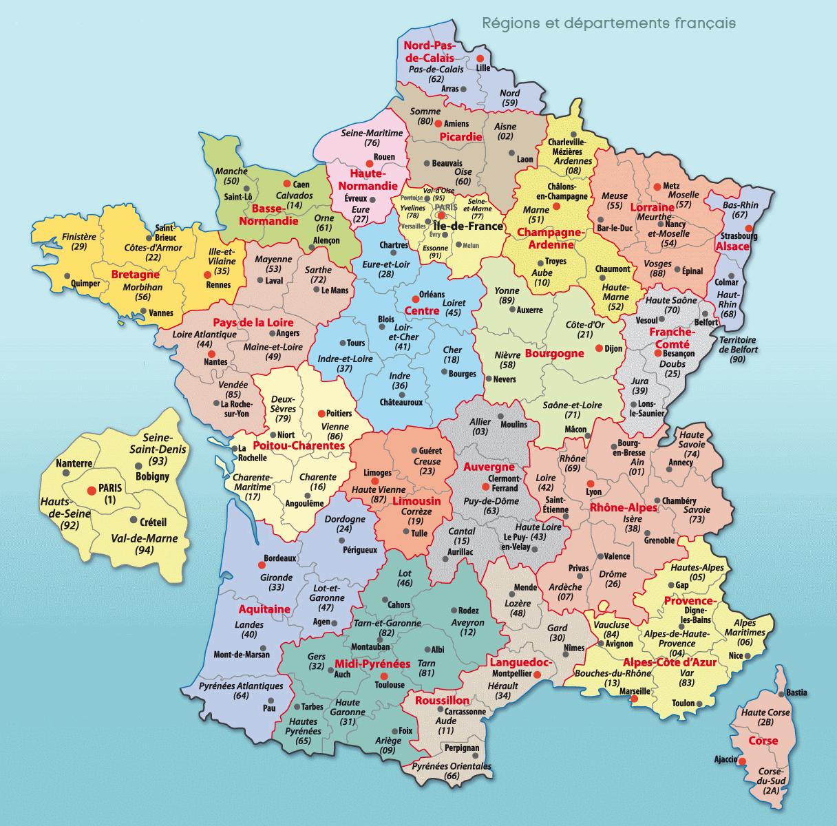 Cartes De France : Cartes Des Régions, Départements Et à Carte Des Régions Et Départements De France À Imprimer