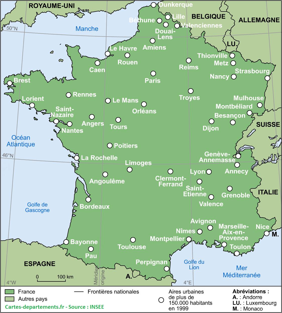 Cartes De France : Cartes Des Régions, Départements Et concernant Carte De France Avec Départements Et Préfectures