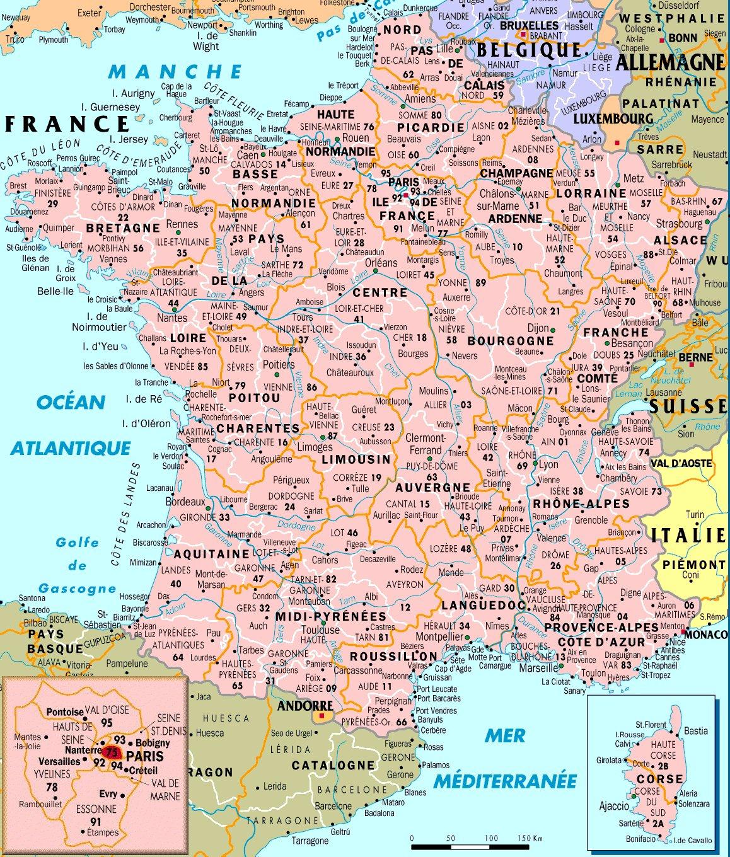 Cartes De France : Cartes Des Régions, Départements Et dedans Carte De France Detaillée Gratuite