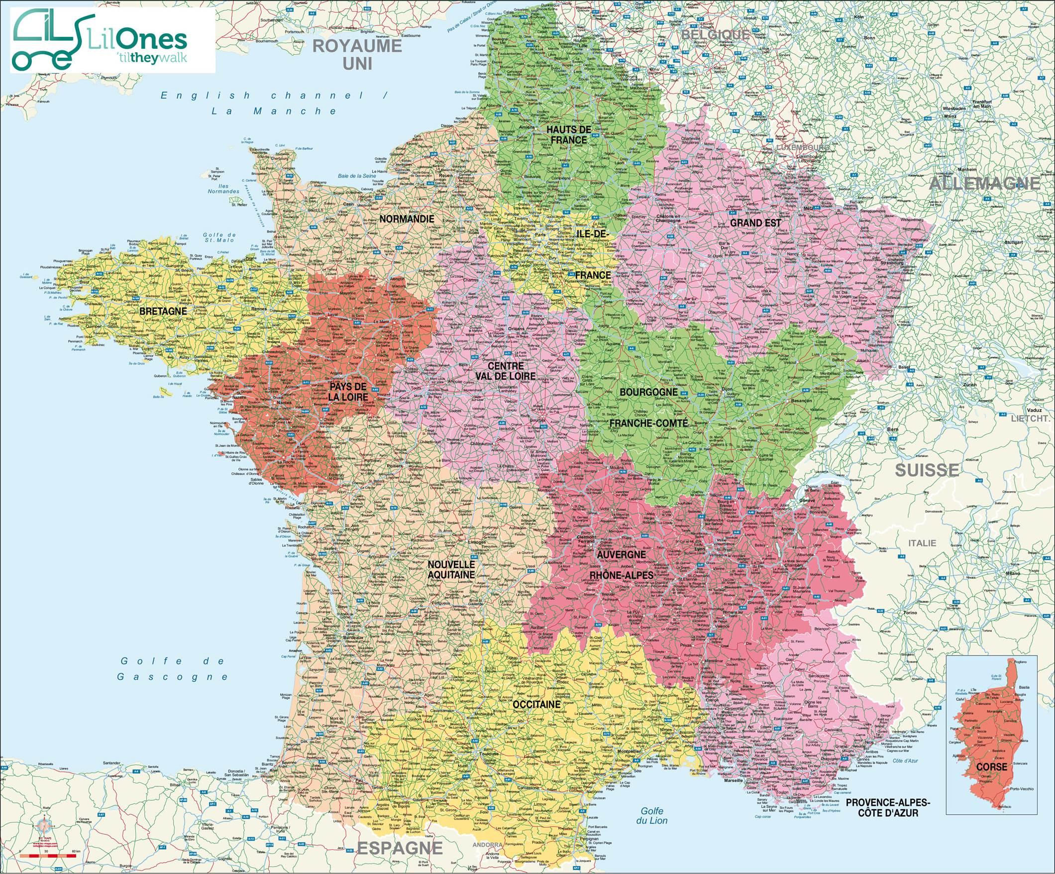 Cartes De France : Cartes Des Régions, Départements Et destiné Carte De France Grand Format