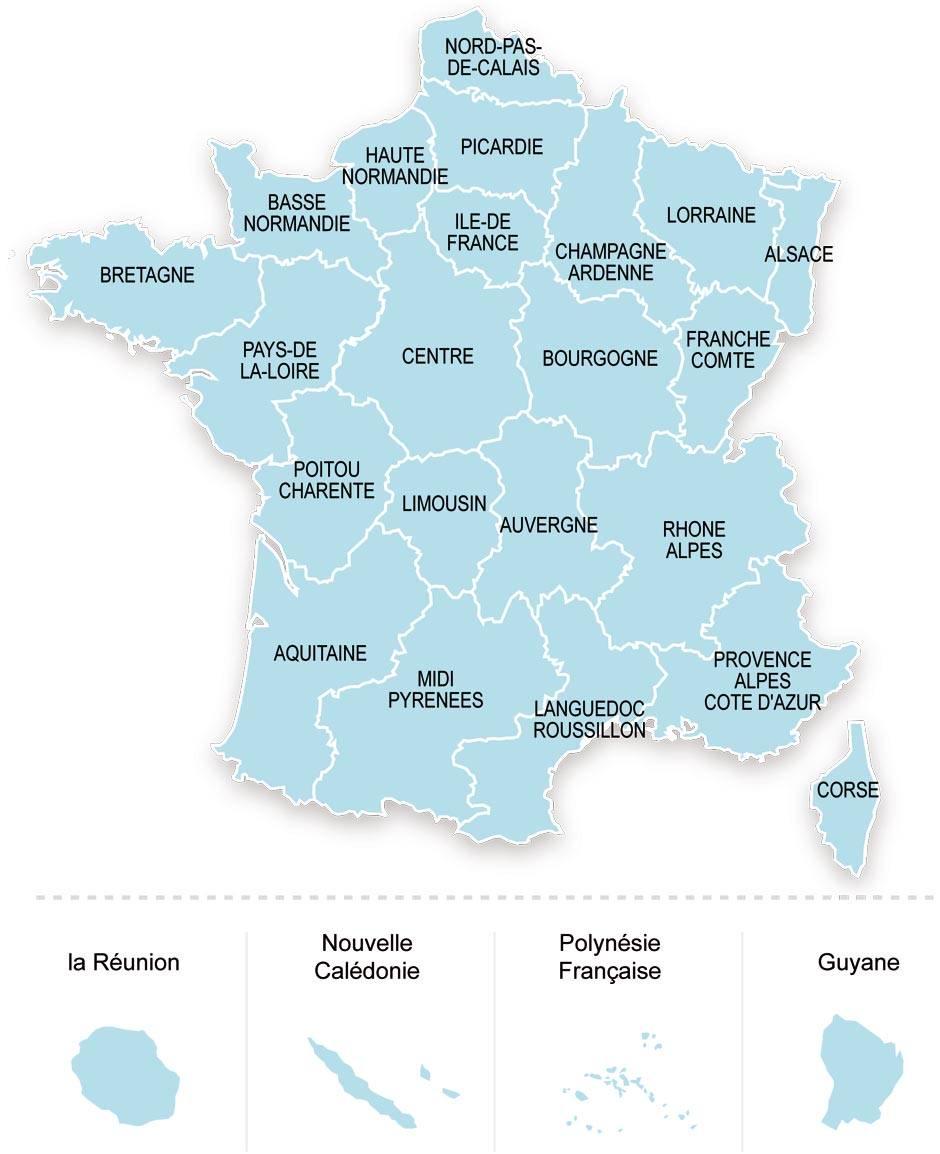 Cartes De France : Cartes Des Régions, Départements Et encequiconcerne Carte Des Régions Et Départements De France À Imprimer