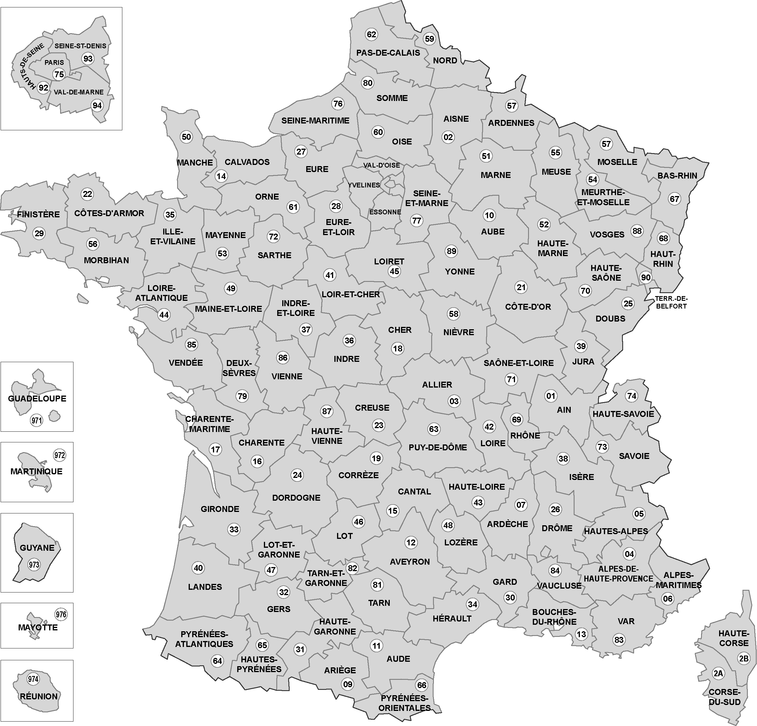 Cartes De France, Cartes Et Rmations Des Régions pour Carte Département Vierge