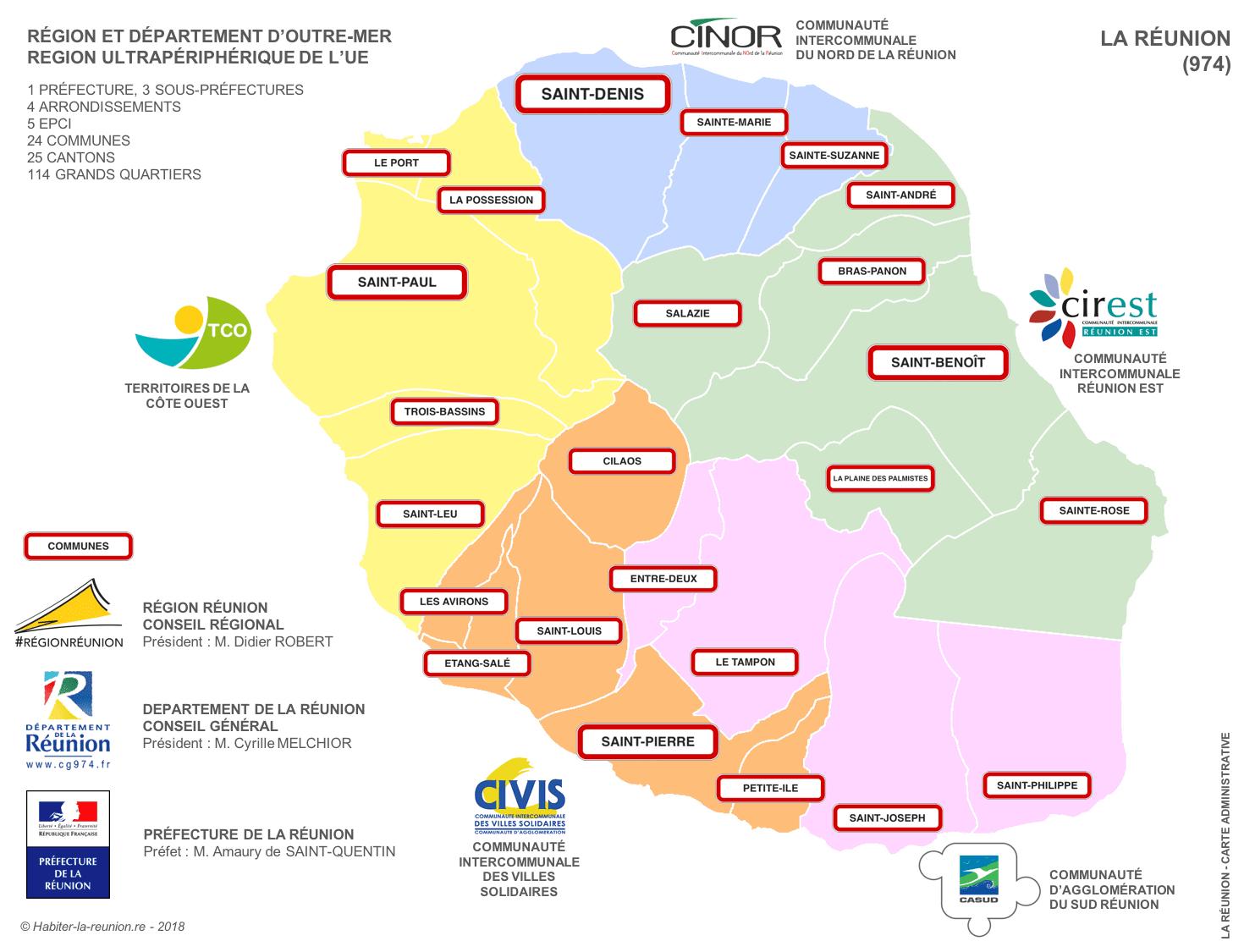 Cartes De La Réunion   Habiter La Réunion concernant Carte Des Régions À Compléter