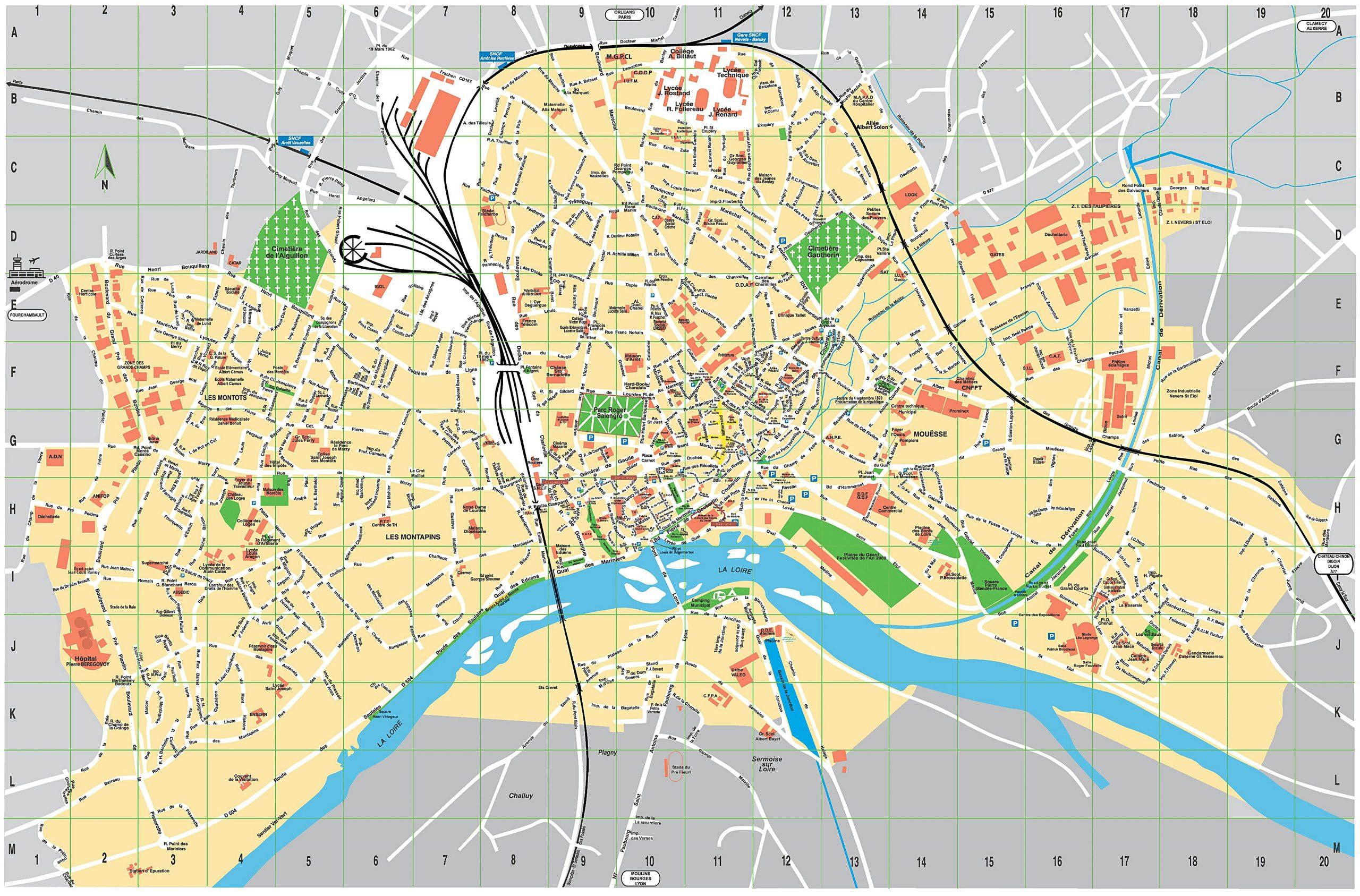 Cartes De Nevers | Cartes Typographiques Détaillées De à Carte De France A Imprimer