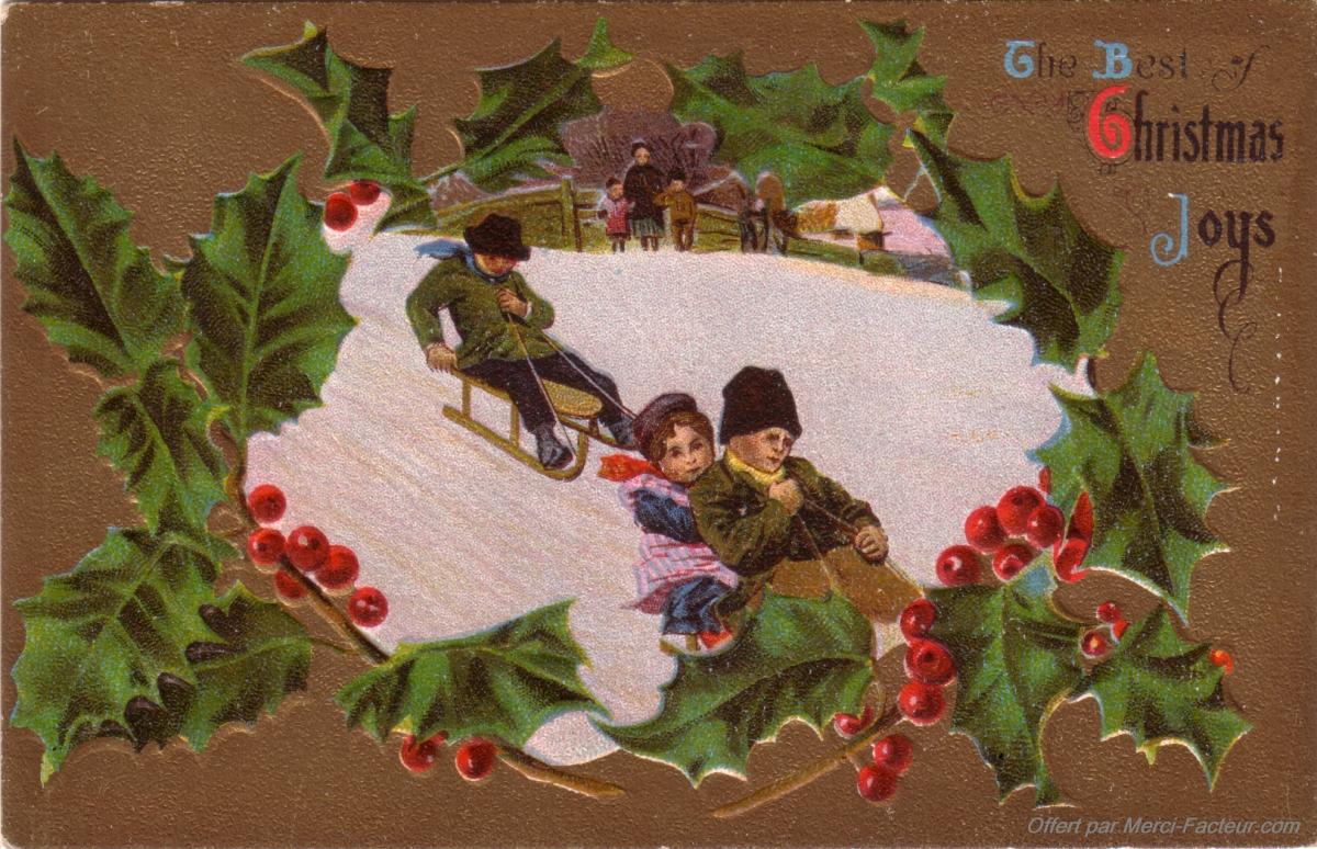 Cartes De Noël Anciennes À Imprimer Gratuitement - Merci Facteur avec Carte Joyeux Noel À Imprimer
